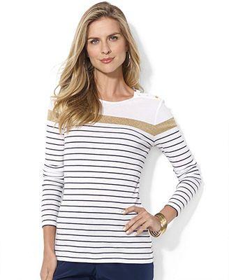 32701627 Lauren Ralph Lauren Long-Sleeve Striped Button-Shoulder Top ...