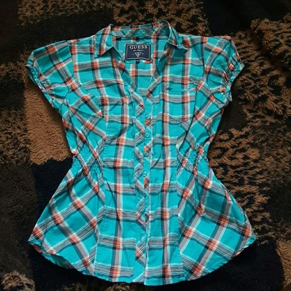 GEUSS blue red and white flannel Super cute in great condition, perfect for fourth of July coming up  ;) size xs but fits like a small Tops Button Down Shirts