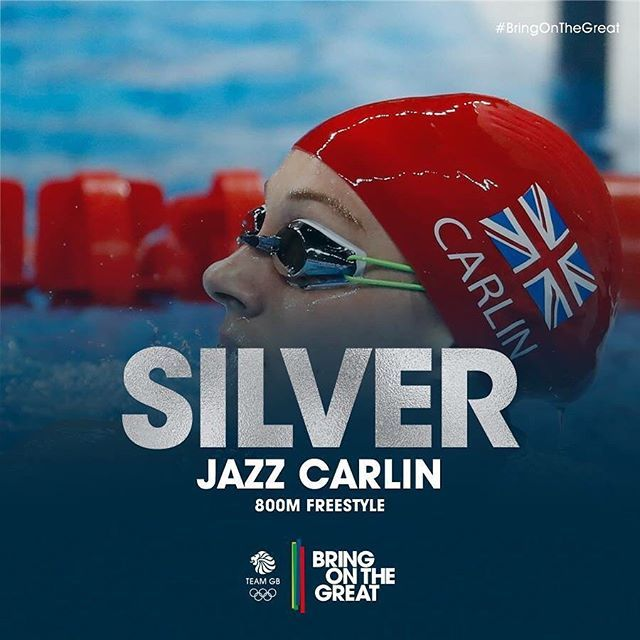 Silver Epic Fight From Jazz Carlin Sees Her Take Home The Silver In The 800m Freestyle Final Amazing Olympic Swimmers Team Gb