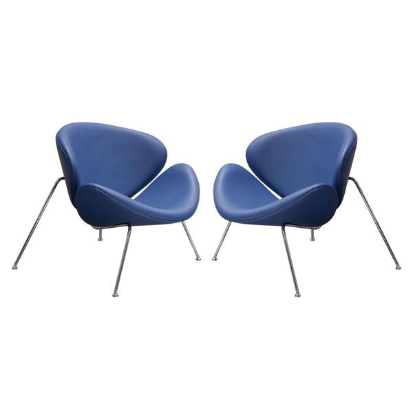 Best Set Of 2 Roxy Accent Chair With Chrome Frame Blue 640 x 480