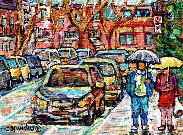 1f83b70f5 Rainy Day Stroll Verdun Street Scene Canadian Painting Walking The ...
