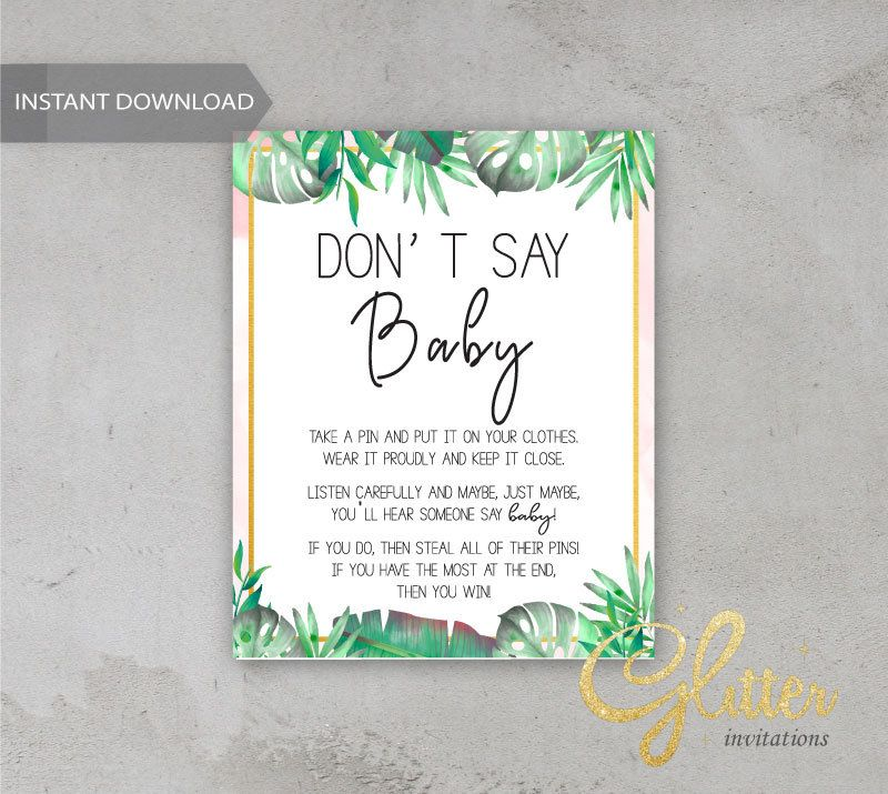 Tropical girl baby shower, Dont Say Baby, Printable Diaper Pin, Clothes Pin Game, Printable girl Dont Say Baby, CY 003