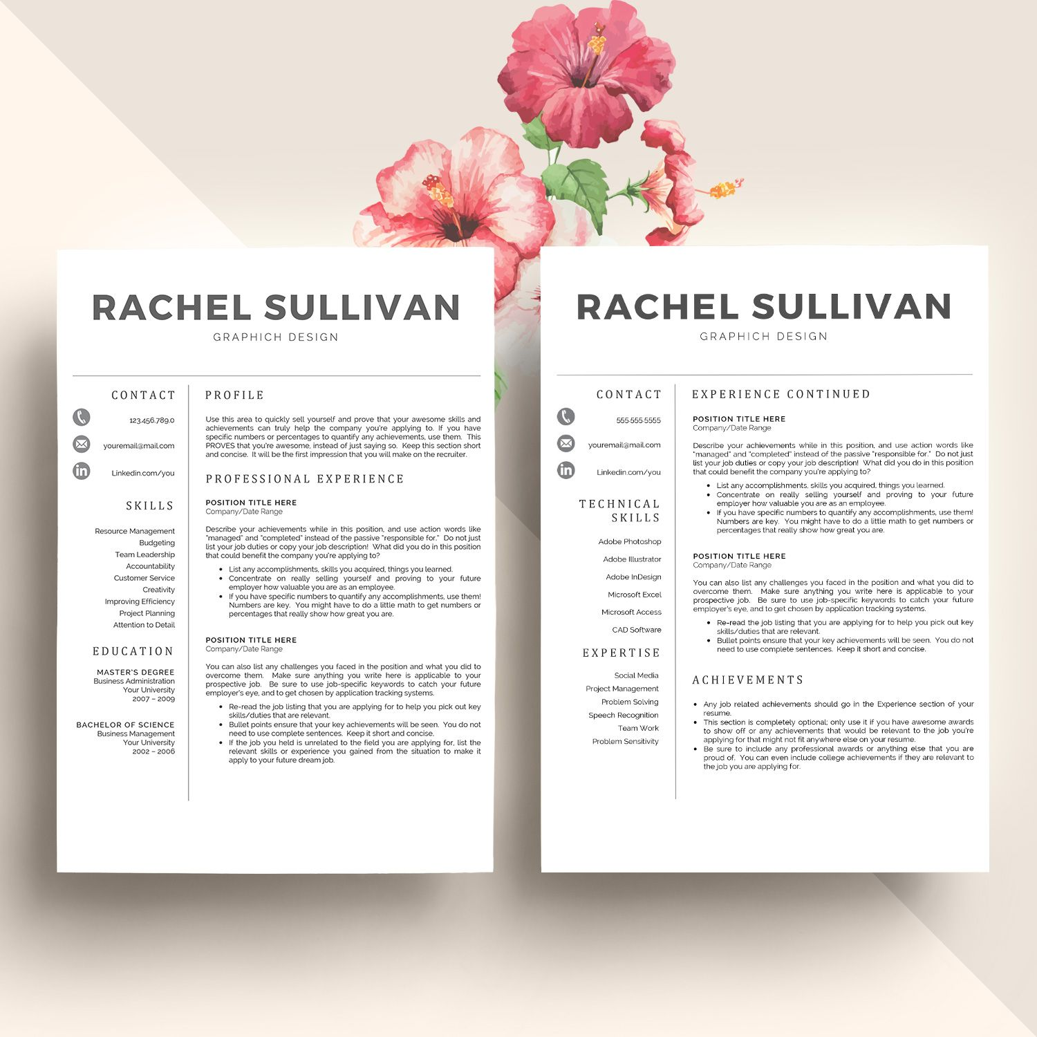 Cv Template  Cover Letter By My Resume On Creativemarket