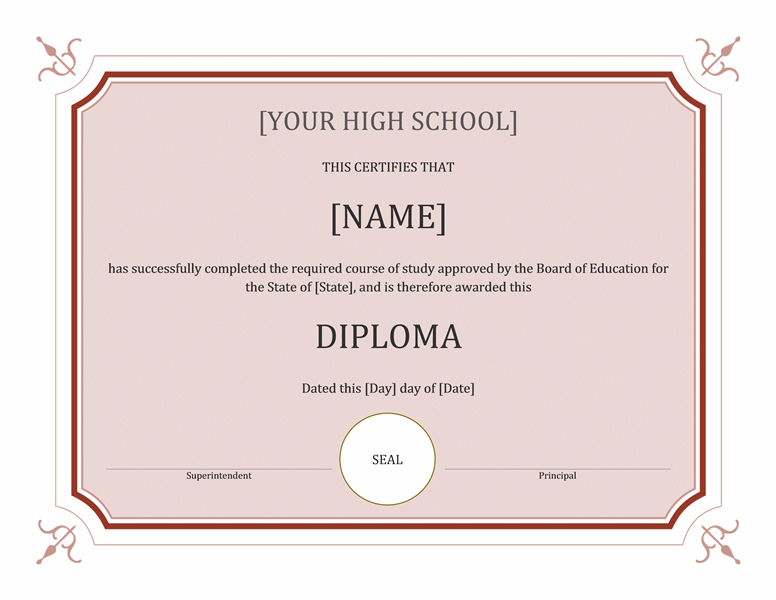High School Diploma Template Word Free Download!! High