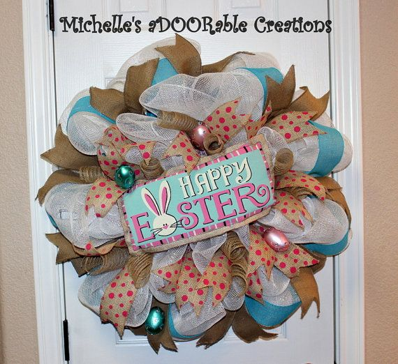 Burlap Easter Deco Mesh Wreath by MaDoorableCreations on Etsy, $65.00