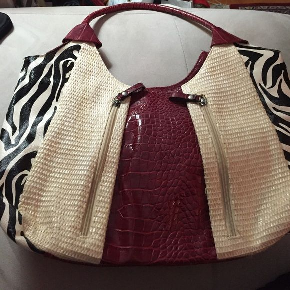 Large red, zebra and straw-like tote size handbag Large red, zebra, straw-like tote size handbag. Naturalizer Bags Totes