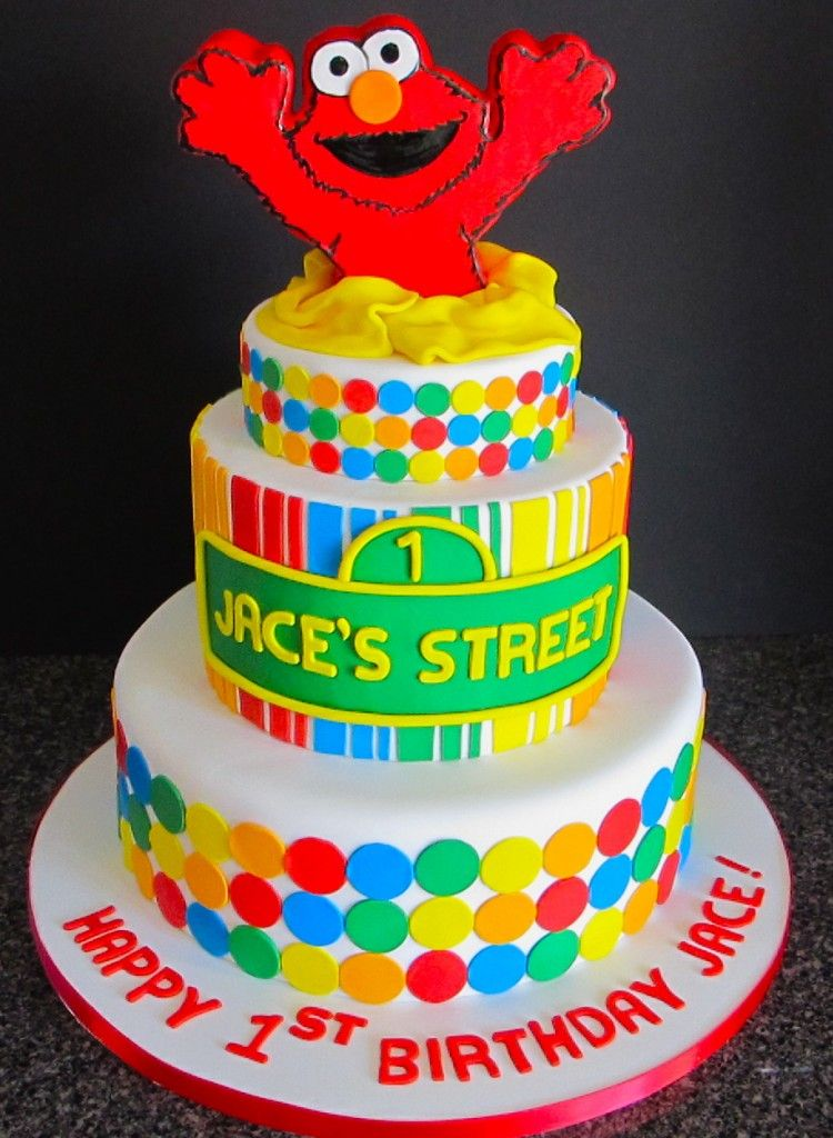 Elmo Cake With Stripes Polka Dots Love The Colors