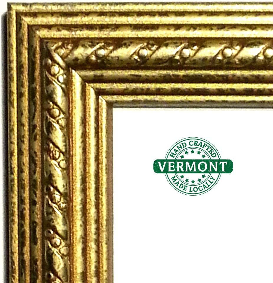Gold Picture Frame Real Wood Gold Foil Glass Backer Hardware All Sizes Handmade Traditional
