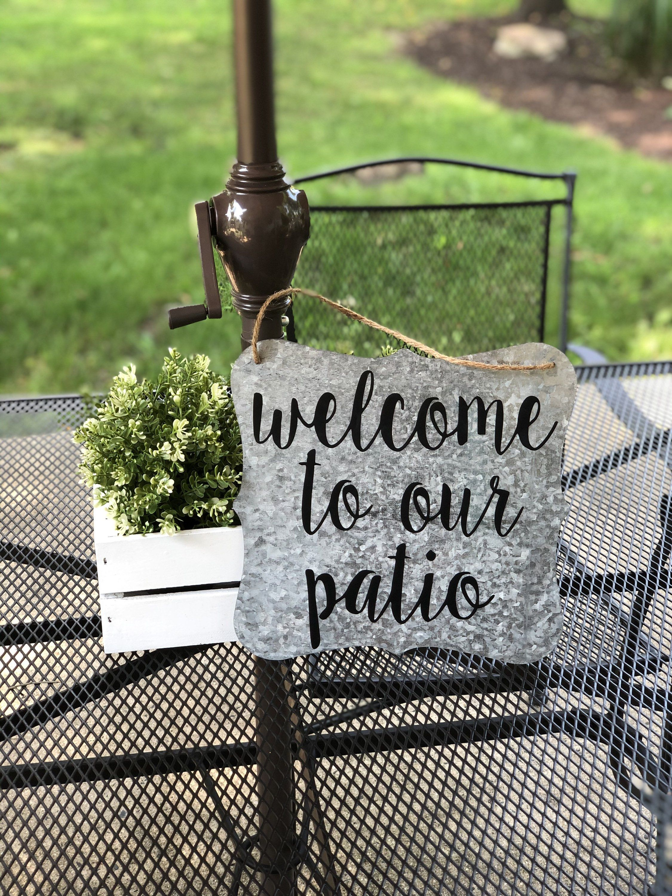 Welcome to our patio large metal sign large galvanized ...