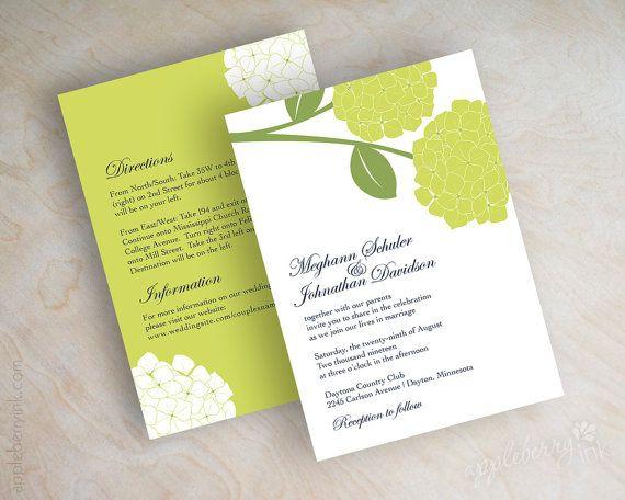 Lime Green Apple Green Navy Blue Hydrangea Wedding Invitation