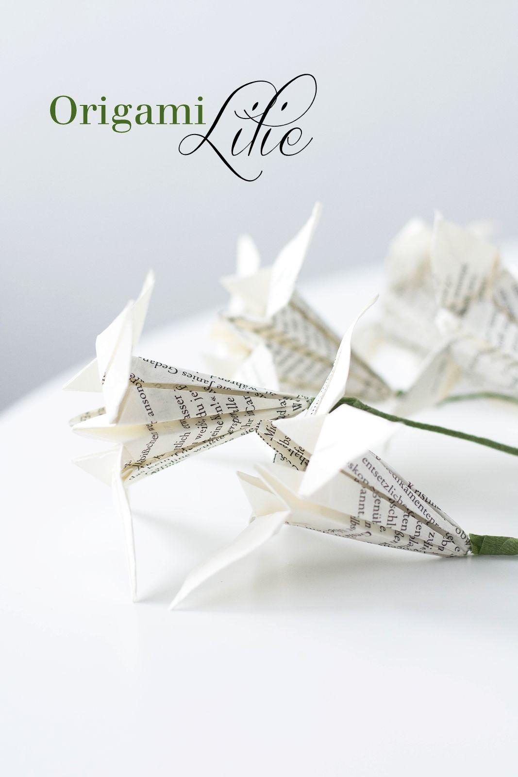 papierblumen falten origami lilien corner shelves origami papier origami anleitungen. Black Bedroom Furniture Sets. Home Design Ideas