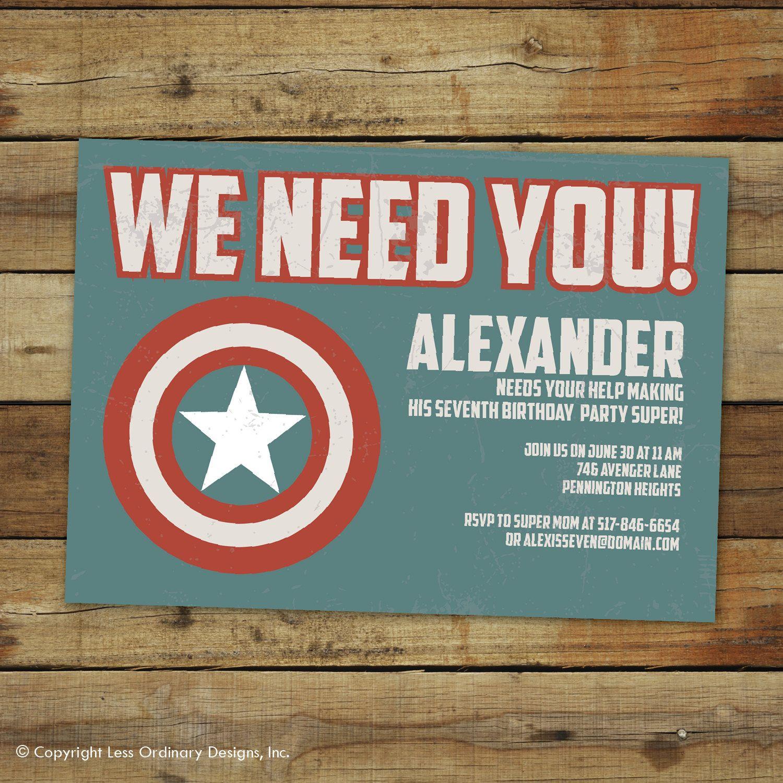 Custom Captain America super hero birthday party invitation