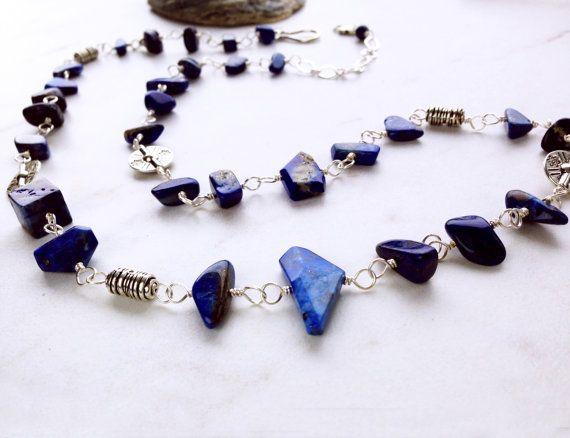 Blue Lapis Necklace Lapis Lazuli and pewter por EvadesignsMaine