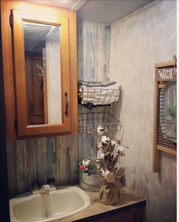 Camper Makeover Using Wallpaper In The Bathroom Rv InteriorRv