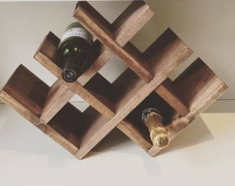 items similar to rustic wooden wine rack handmade home decor aged wood - Wooden Wine Rack