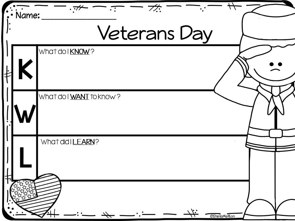 Veterans Day Freebie Veterans Day Kwl Chart Perfect For Veterans