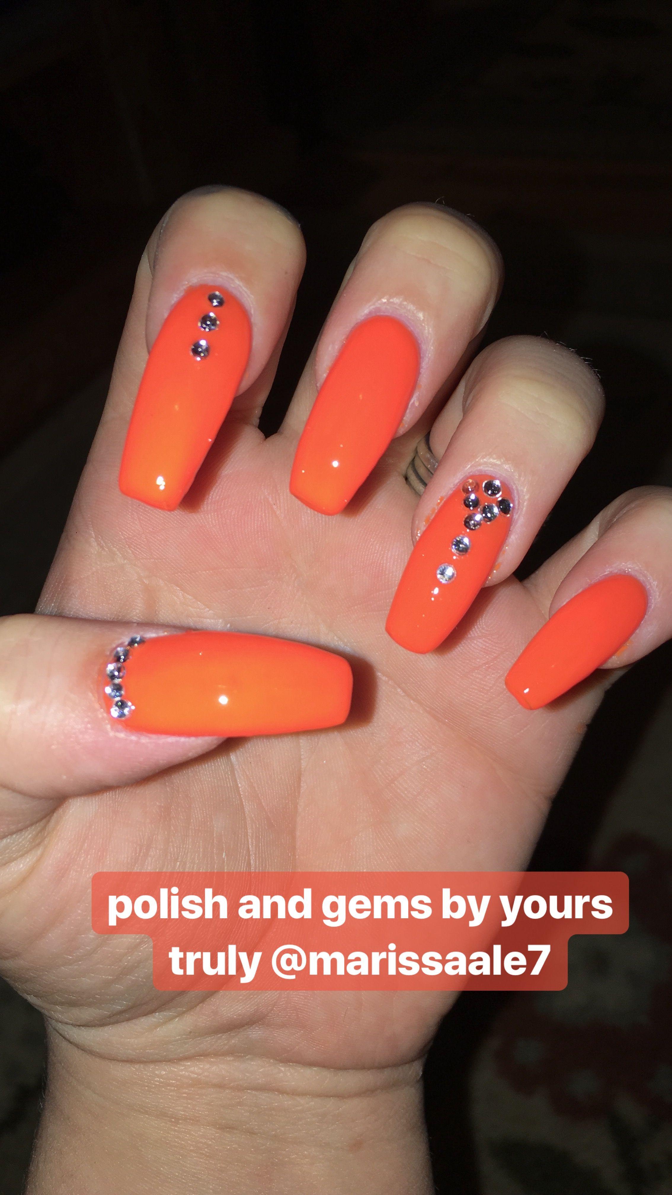 Spring Nails Orange Long Acrylics Gems Crystals Nail Idea 2018 Orange Acrylic Nails Cute Spring Nails Orange Nails