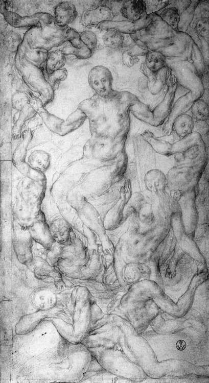 PONTORMO, JacopoChrist the Judge with the Creation of Evec. 1550Black chalk on paper, 326 x 180 mmGalleria degli Uffizi, Florence