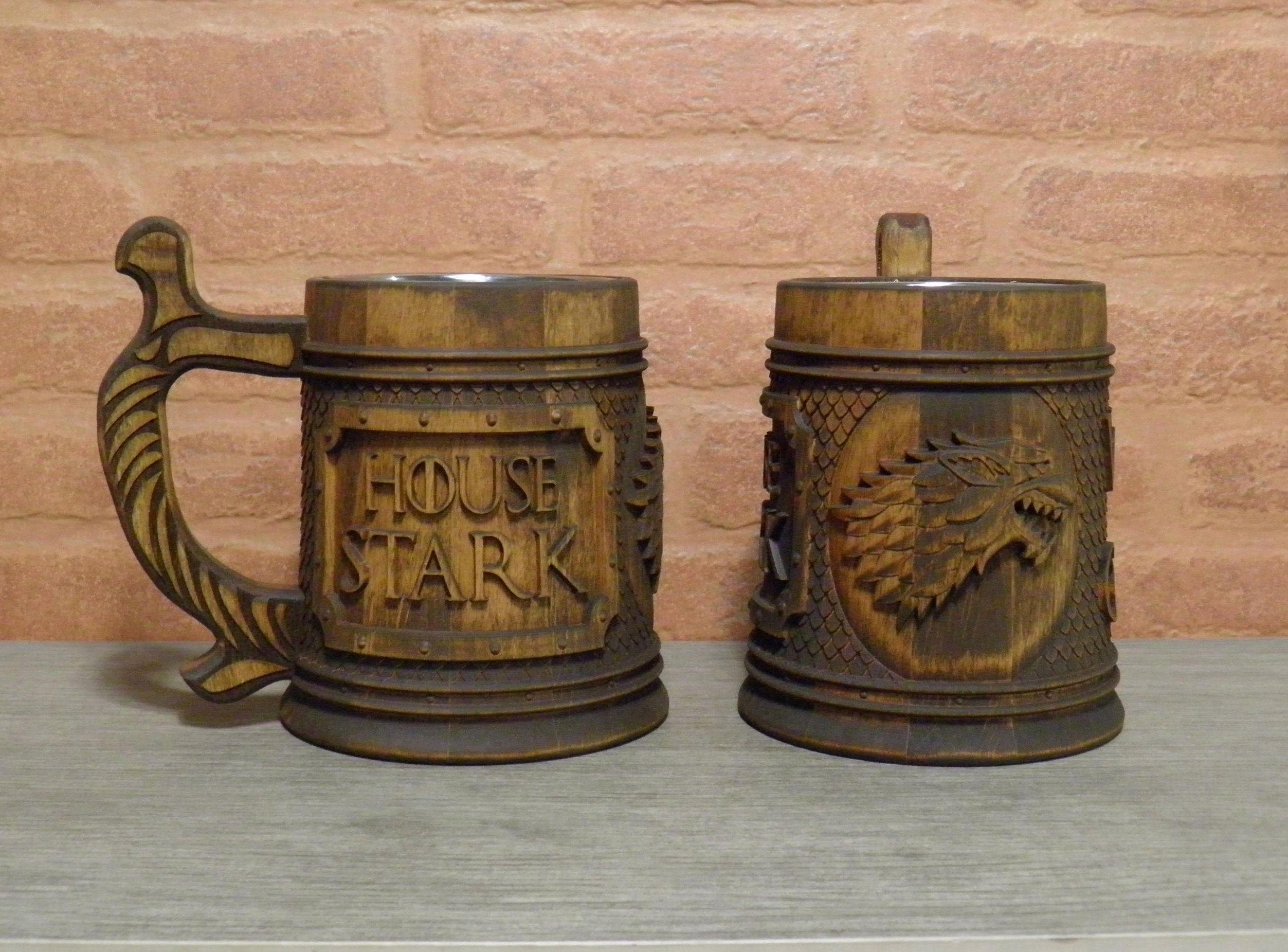 Game of Thrones wooden beer mug, gift for him, House Stark