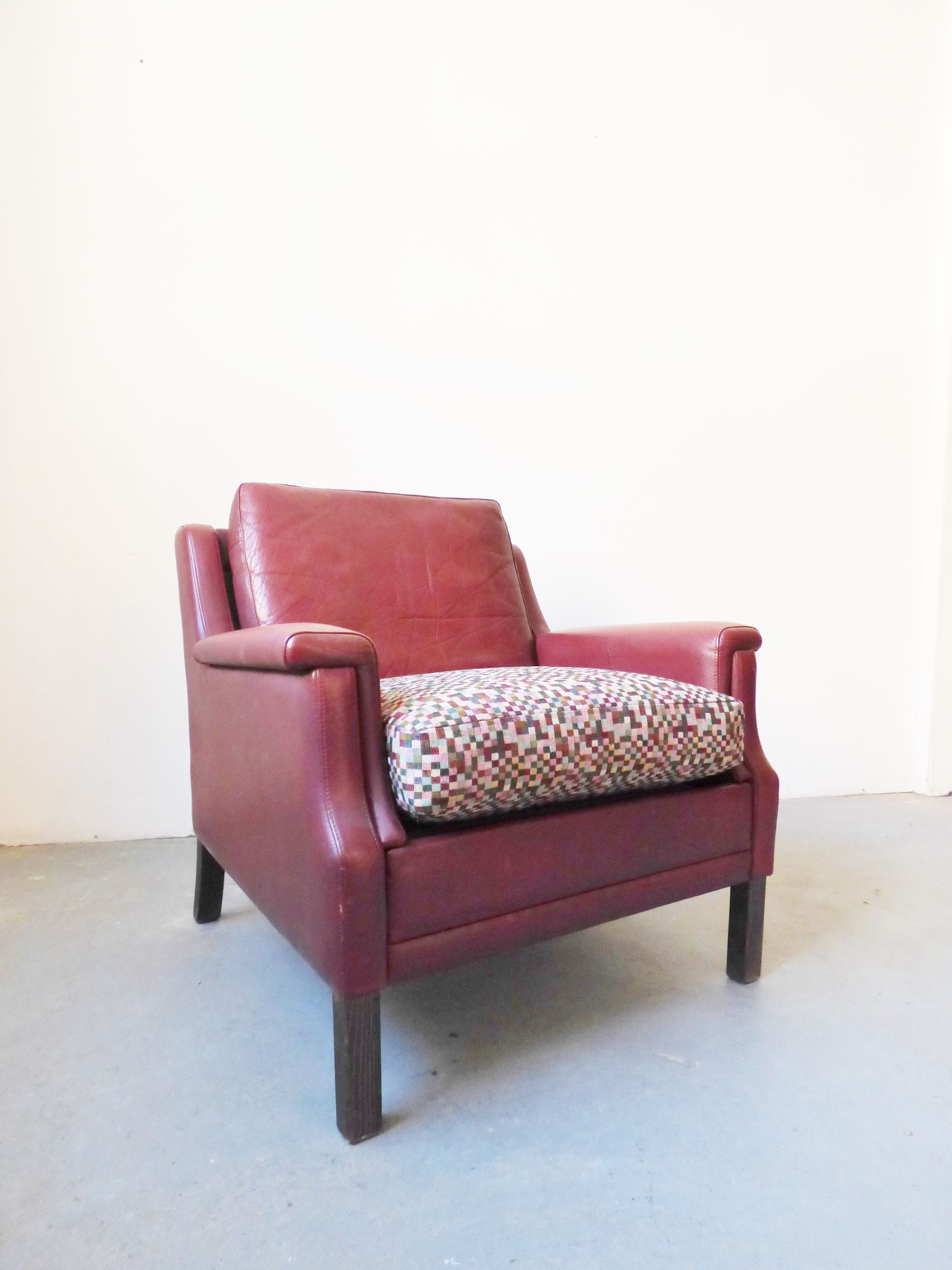Vintage Danish Red Leather Armchair