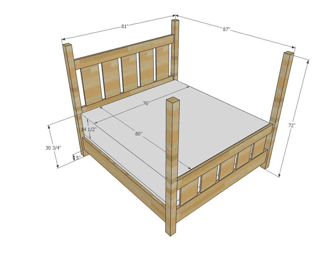 Ana White | Build a Slatted Four Post Farmhouse Bed - KING | Free ...