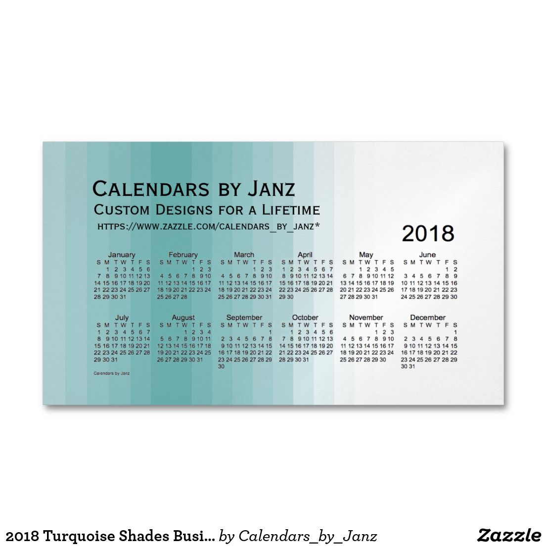 2018 Turquoise Shades Business Calendar by Janz Business Card ...
