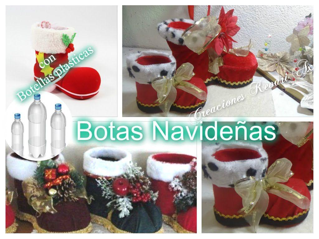 Botas navide as con botellas plasticas diy material for Adornos navidenos hechos con reciclaje