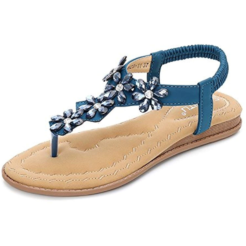 a59dc07ee96 Women s Bohemian Rhinestone Flat Sandals Summer Beach T-Strap Elastic Flip  Flop Thong Shoes