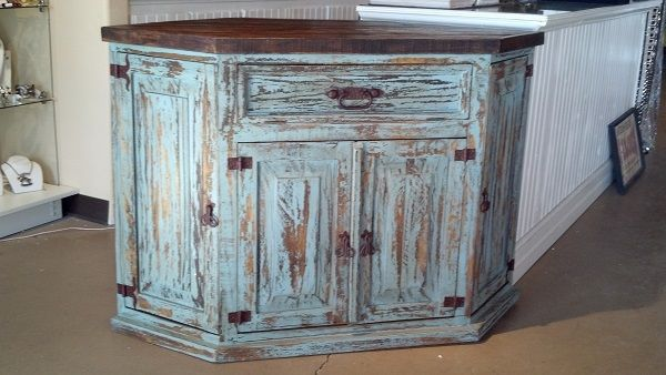 Aqua 4 Door Corner Chest Tv Entertainment Center Rustic Distressed