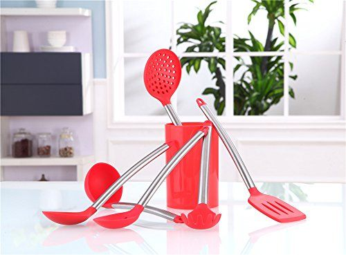 Esnbia Kitchen Cooking Utensils Set Silicone Heads And Stainless