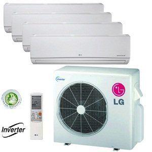 Lg 36 000 Btu Quad Zone Mini Split Heat Pump And Air Conditioner Lmu3 Heat Pump Air Conditioner Refrigeration And Air Conditioning Wall Mounted Air Conditioner