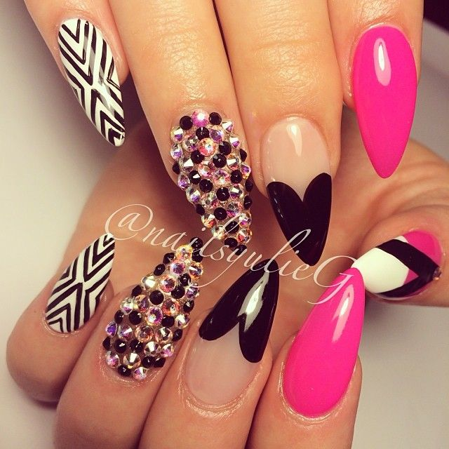 Stiletto Nail Art With Diamonds: Instagram Post By Yulie G. (@nailsyulieg)