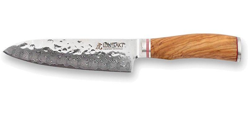 Couteau Japonais Santoku Alveolee Wusaki Damas 67 Couches 17cm Wu Couteau Bois D Olivier Damas
