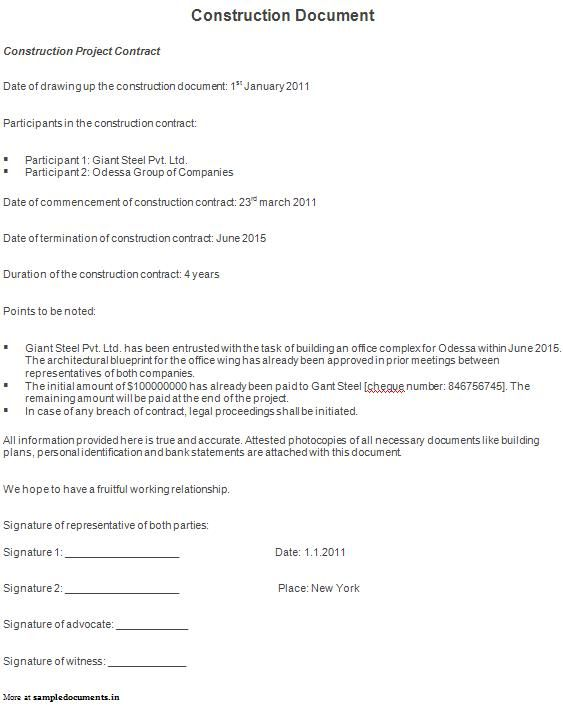 Sample construction document construction documents pinterest sample construction document malvernweather Image collections