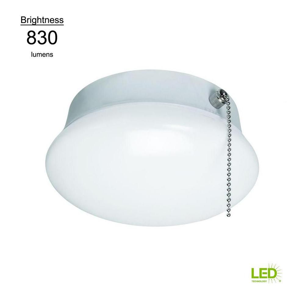 Commercial Electric Spin Light 7 In Led Flush Mount Ceiling Light With Pull Chain 830 Lumens 11 5 Watts 4000k Bright White No Bulbs 54617142 Led Flush Mount Pull Chain Pull Chain Light Fixture
