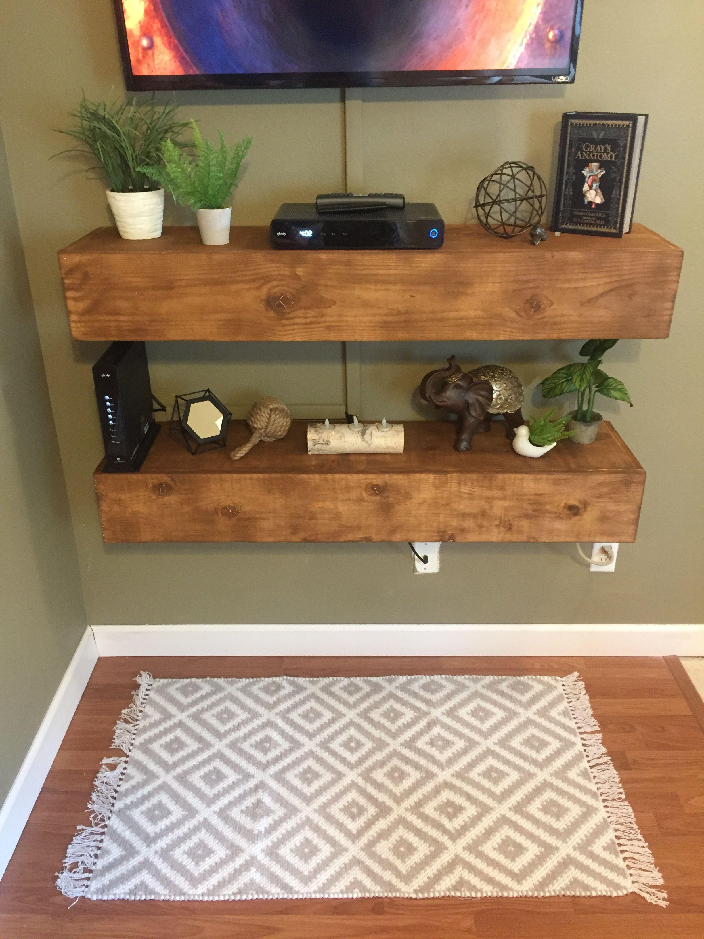 Diy media shelves floating shelves bedroom modern