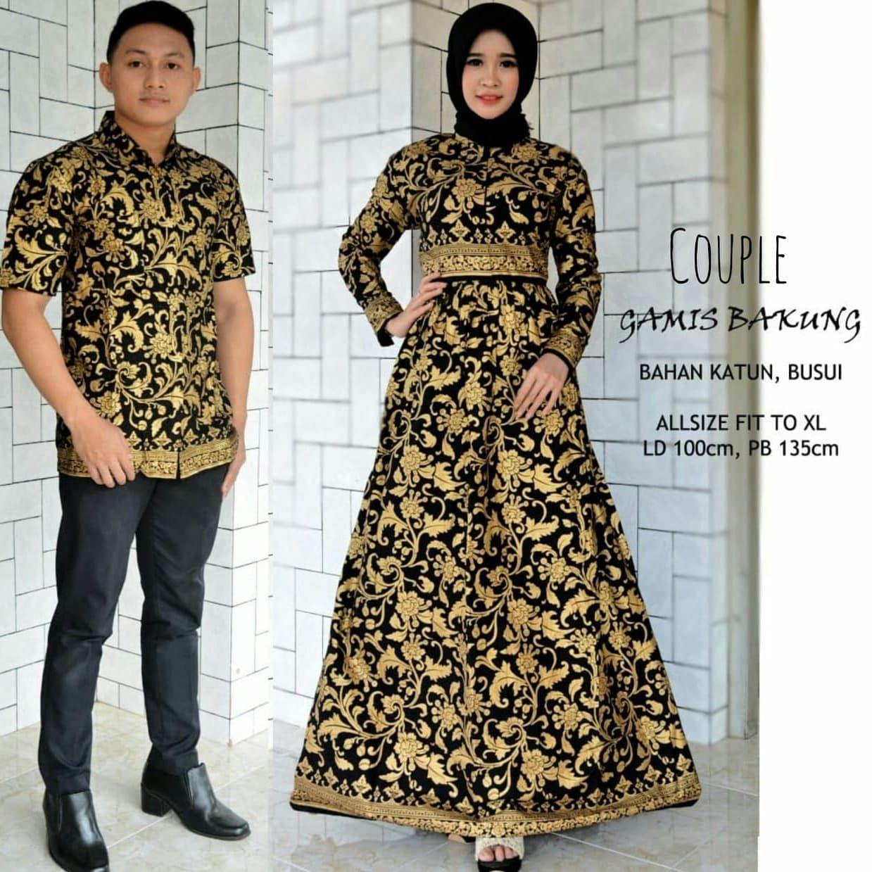 Model Gamis Batik Emas  Model pakaian, Gaun lengan panjang, Model