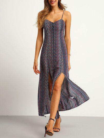 Multicolor Spagettic Strap Side Split Dress