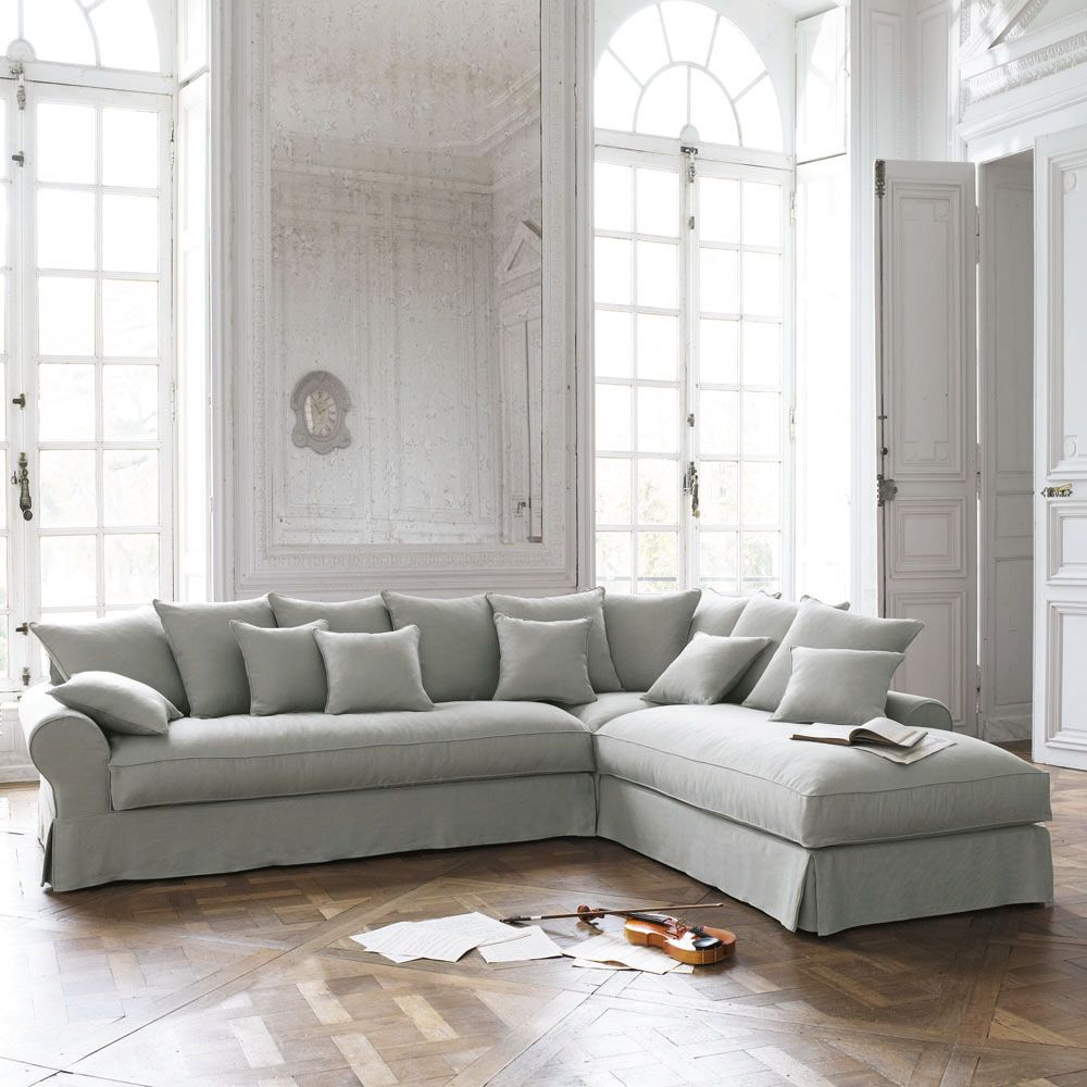 Corner Sofa In Light Grey Linen, Seats 6 BASTIDE