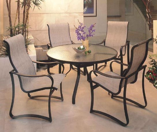 calypso sling dining chairs by tropitone
