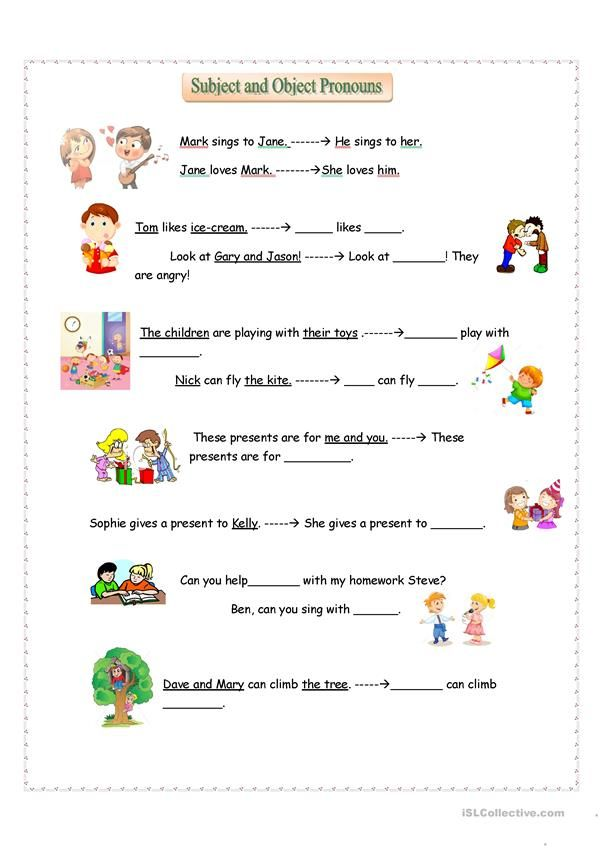 Subject And Object Pronouns Education Pinterest Worksheets