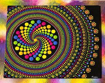 Original Hand Painted Mandala Dot Art Dot Painting Rustic Blue - Pinturas-de-mandalas