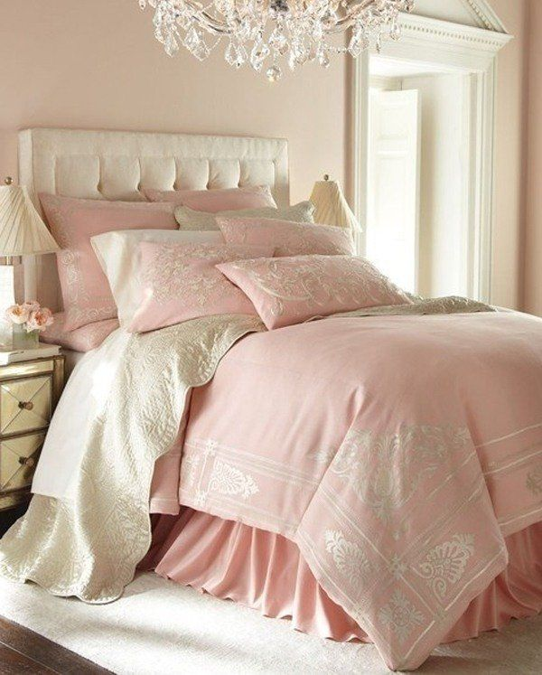 Chic romantic pink pastel bedroom decor white bedroom for Elegant white bedroom furniture