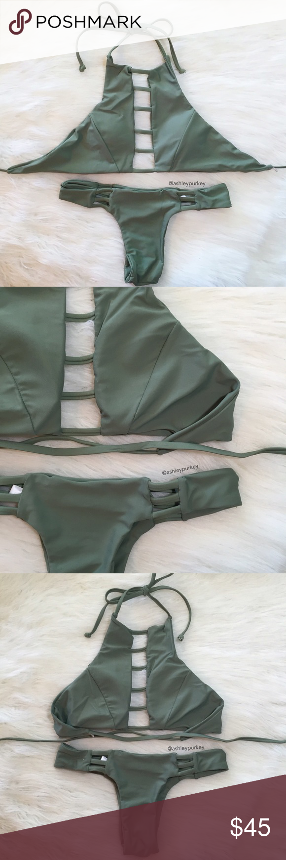 army green strappy ladder high neck bikini set •size: S or M   •features: top: has padded cups   •no trades  ❗️❗️ NOT from l*space (brand listed for visibility. real brand: B-Long Boutique)   ⚠️ if this item does not fit you CANNOT return it - poshmark policy l*space Swim Bikinis
