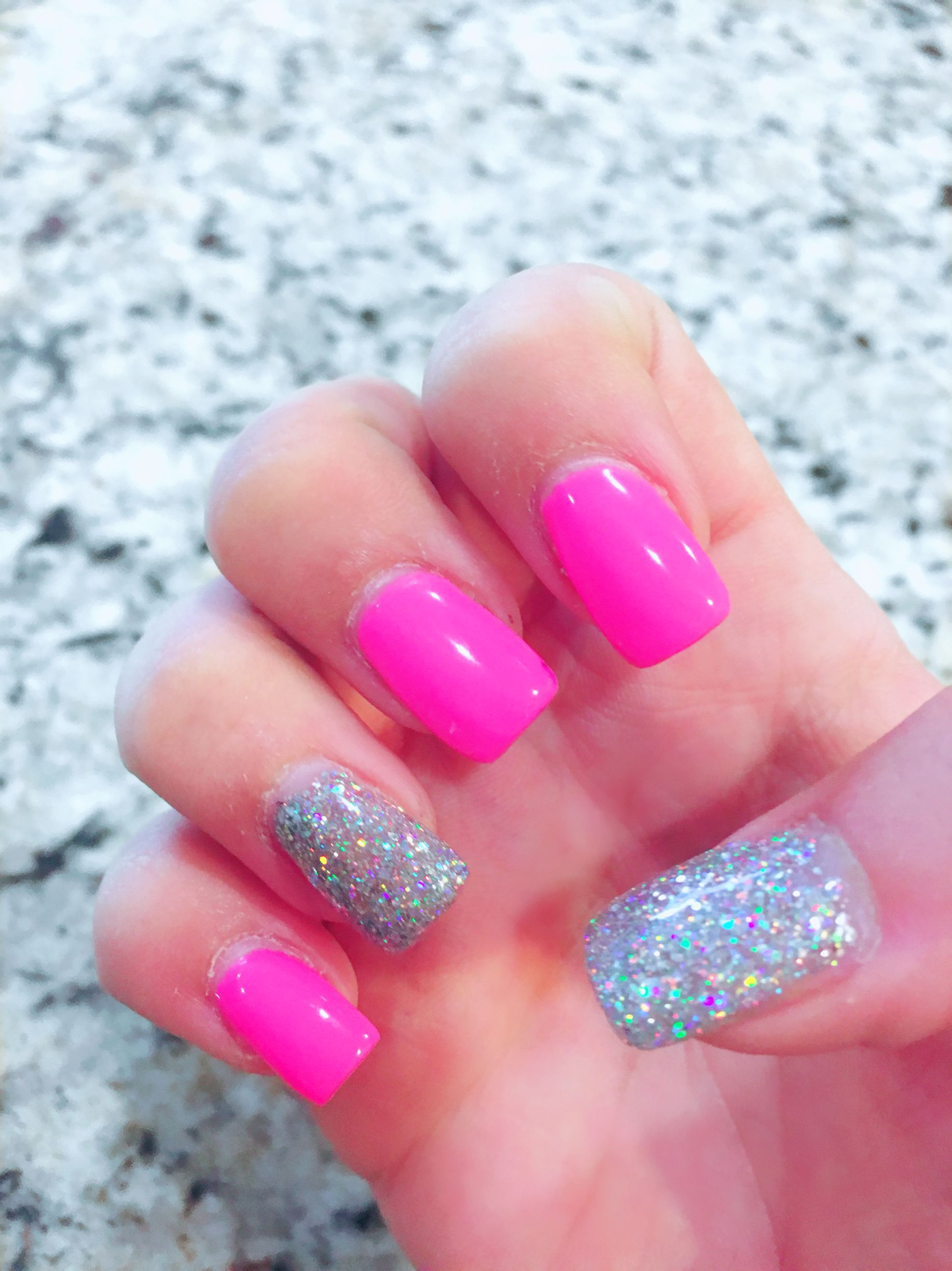 Pink and Silver glitter nails DND Gel Polish #484 Sun Of Pink ...