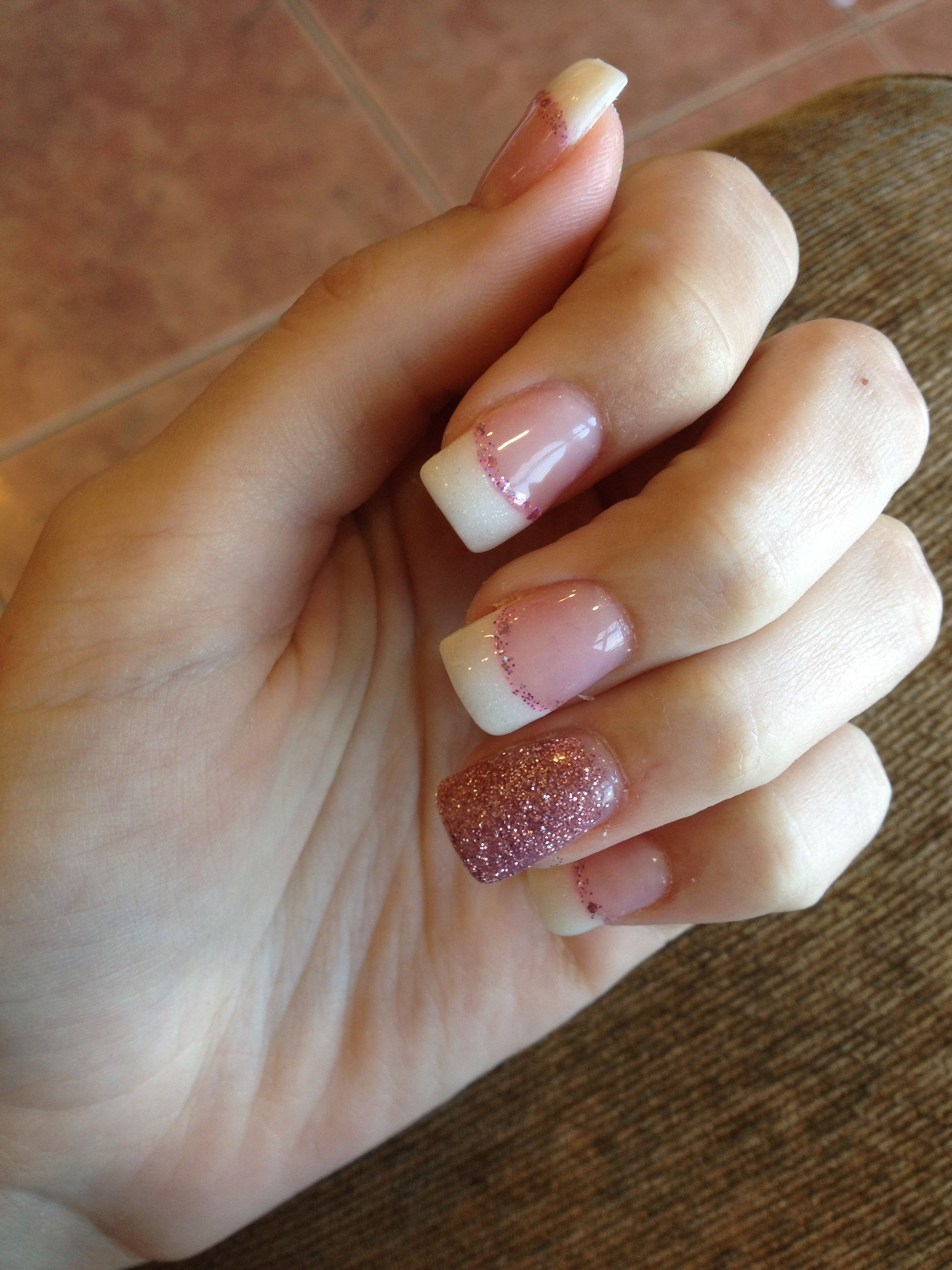 Acrylic Nails, Simple, French Tip, Glitter, Pink