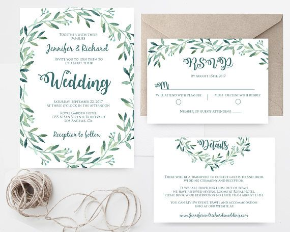 Greenery wedding invitation template printable wedding invitation this wedding invitation template set includes three high resolution templates invitation card rsvp stopboris Choice Image