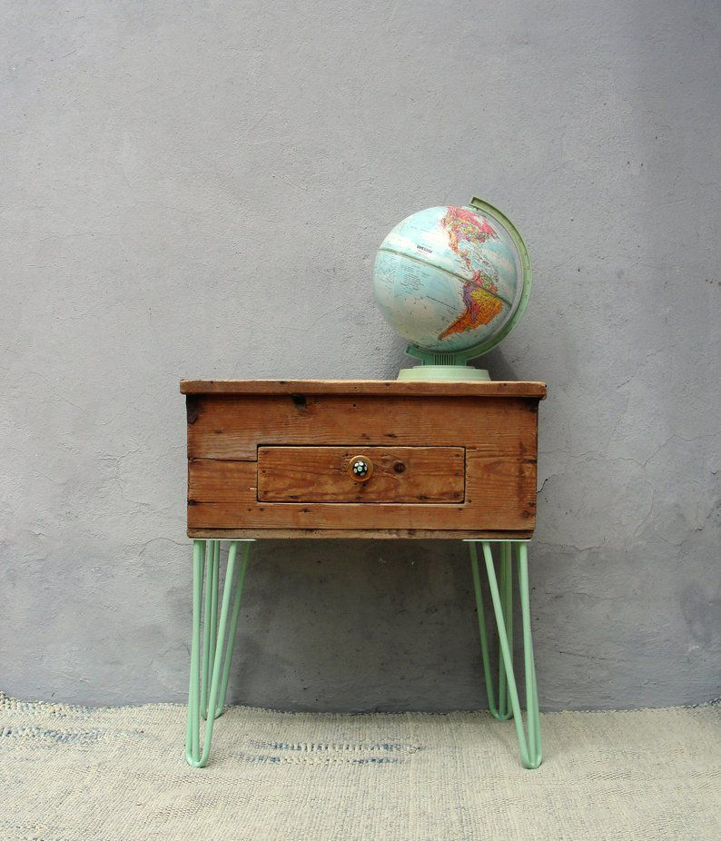 Vintage Chest Side table, End table with Hairpin Legs