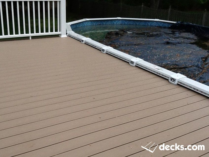 Above ground pool deck wolf captiva decking with for Above ground pool decks nj