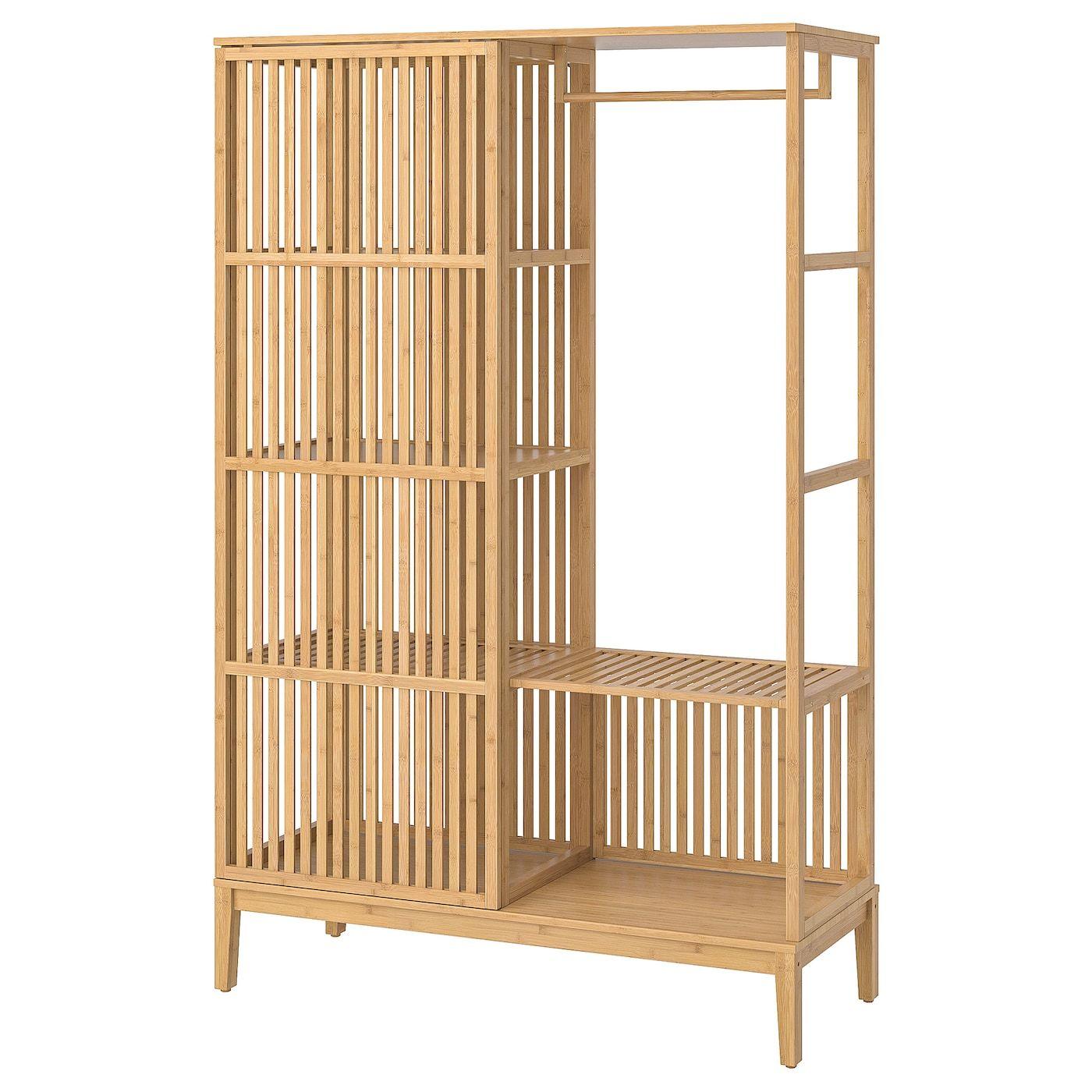 Nordkisa Open Wardrobe With Sliding Door Bamboo 47 1 4x73 1 4